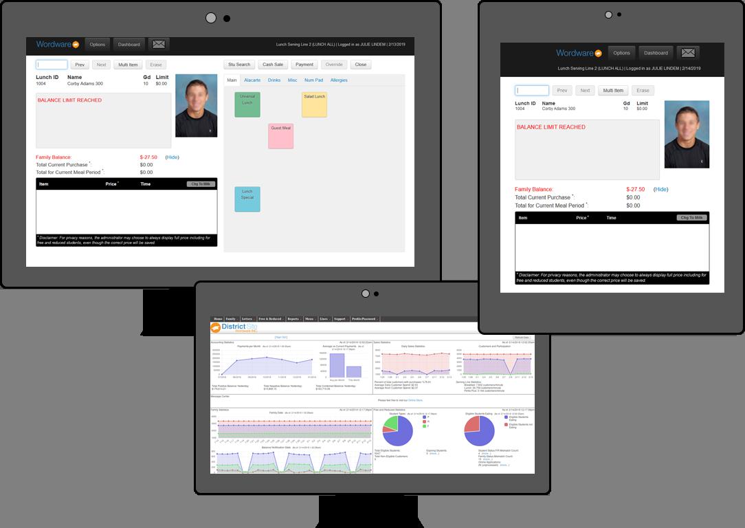 Screenshots of Wordware lunch software.